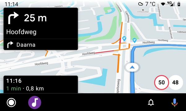 Flitsmeister Android Auto navigatie