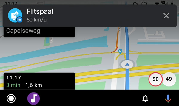 Flitsmeister Android Auto waarschuwing