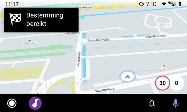 Flitsmeister Android Auto bestemming bereikt