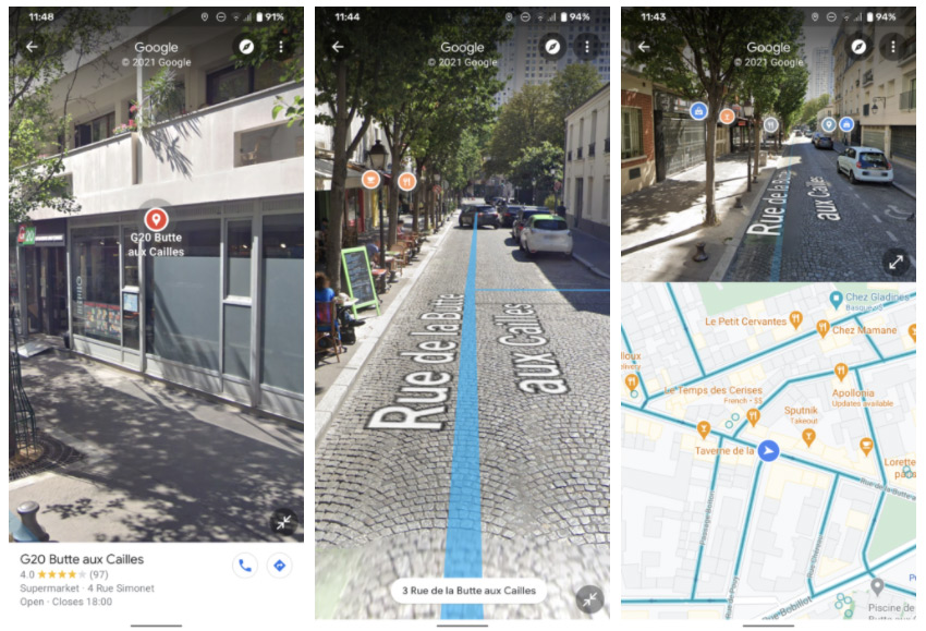 Google Maps Street View split-screen