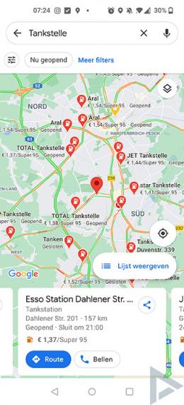 Google Maps brandstofprijzen