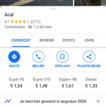 Google Maps tankstation brandstofprijs