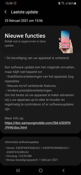 Samsung Galaxy A50 februari 2021 update