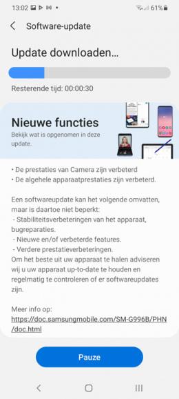 Samsung Galaxy S21 februari update