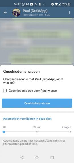 Telegram automatisch verwijderen
