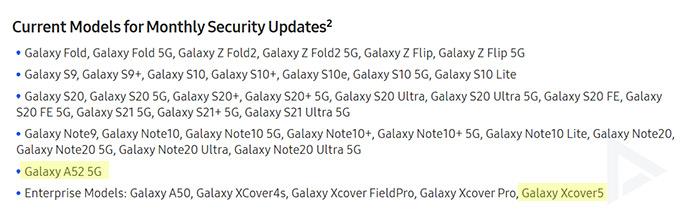 Galaxy A52 Xcover 5 beveiligingsupdate maandelijks