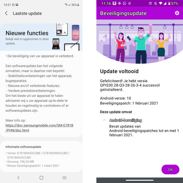 Galaxy S20 FE Moto G8 Plus update