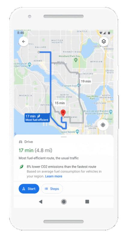 Google Maps eco-friendly route