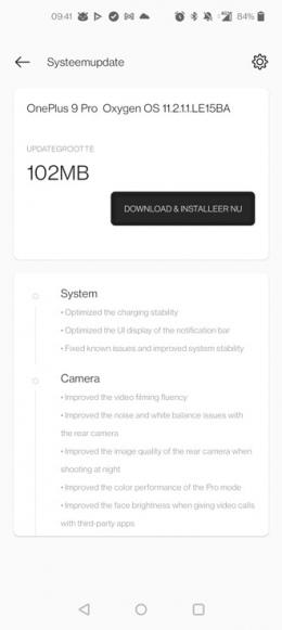 OnePlus 9 pro OxygenOS 11.2.1.1