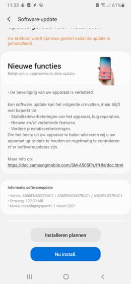 Samsung Galaxy A50 maart 2021 update