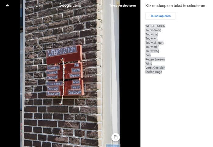 Google Lens in Google Foto's web