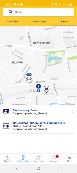 NS app P+R live vrije parkeerplaatsen