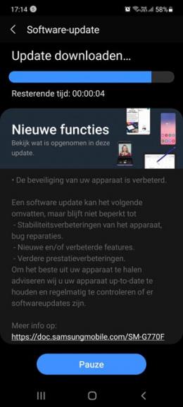 Samsung Galaxy S10 Lite april-update