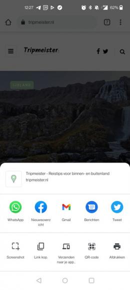 Chrome Android deelmenu