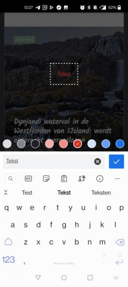 Chrome Android deelmenu screenshot editor tekst