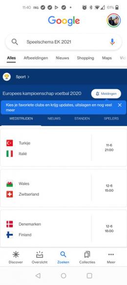 Google Discover EK voetbal 2021