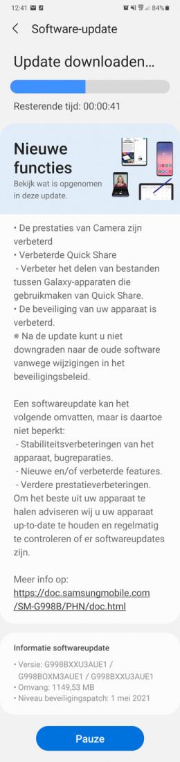 Samsung Galaxy S21 mei update