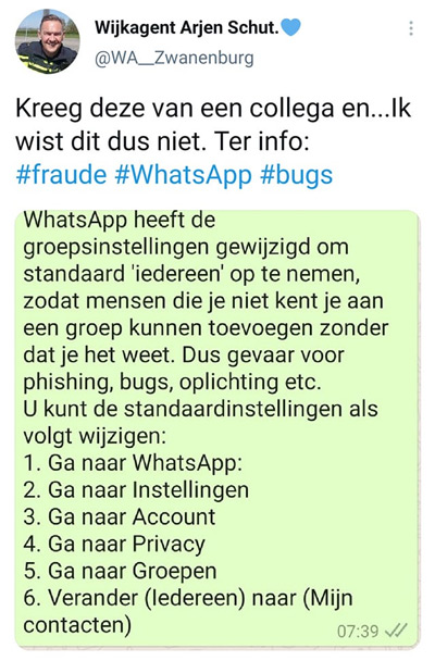 WhatsApp groepsinstellingen politie