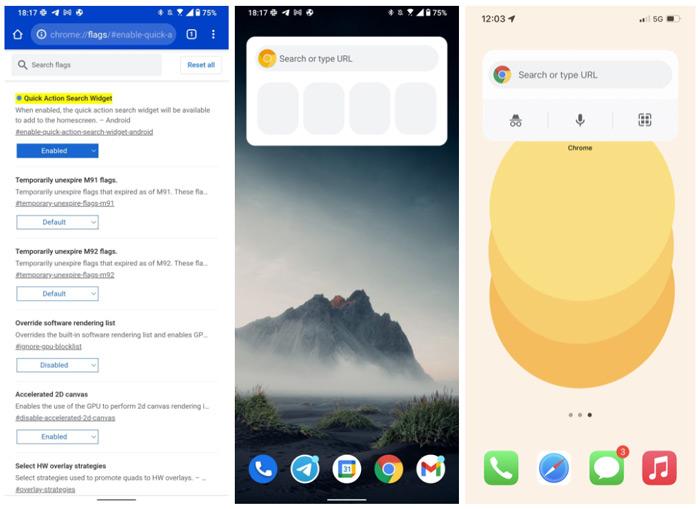 Chrome widget Android