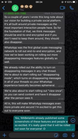 WhatsApp nieuwe functies Zuckerberg