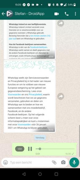 WhatsApp spraakbericht versneld afspelen
