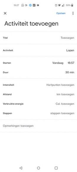 Google Fit activiteit