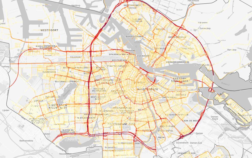 Google Maps luchtkwaliteit Amsterdam