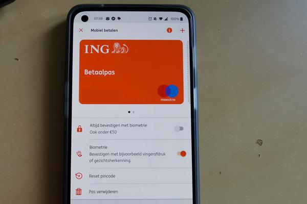ING mobiel betalen biometrie