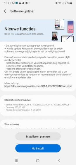 Samsung Galaxy A50 juli update 2021