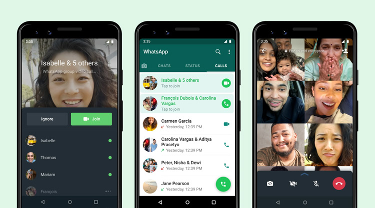 WhatsApp deelnemen gestart videogesprek