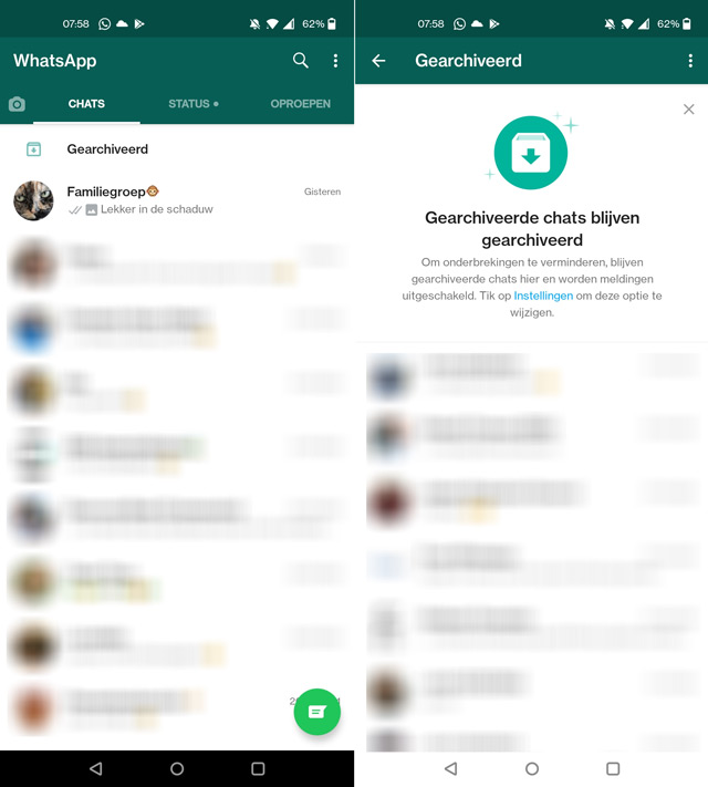 WhatsApp gearchiveerd