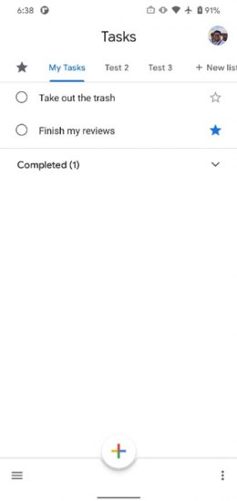 Google Tasks favorieten ster