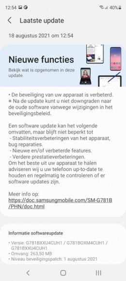 Samsung galaxy S20 fe augustus-update