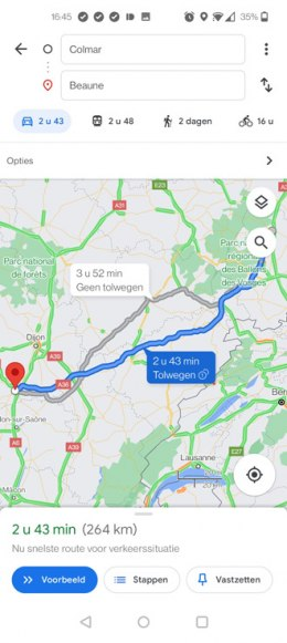 Tolwegen Google Maps