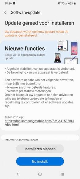 Galaxy A41 augustus-update