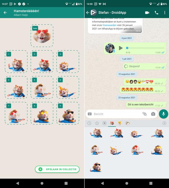 Hamsterstickers Albert Heijn WhatsApp