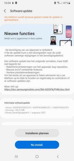 Samsung Galaxy A50 augustus 2021 update