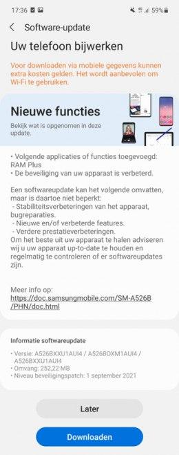 Samsung Galaxy A52 beveiligingsupdate september 2021