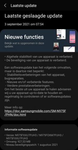 Samsung Galaxy Note 10 augustus 2021 update
