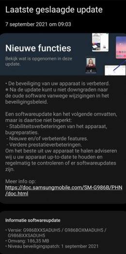 Samsung Galaxy S20 augustus-update