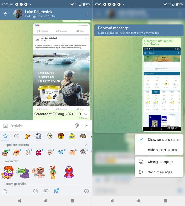 Telegram 8.0 stickers doorsturen