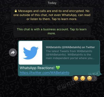 WhatsApp emoji reacties