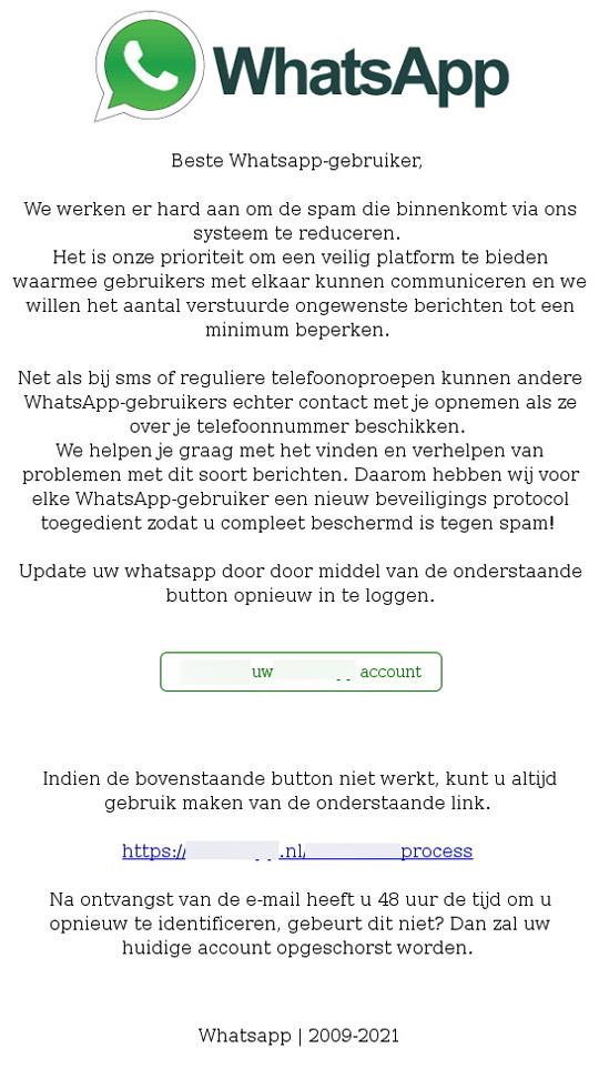 WhatsApp mail scam