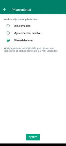 WhatsApp privacystatus delen