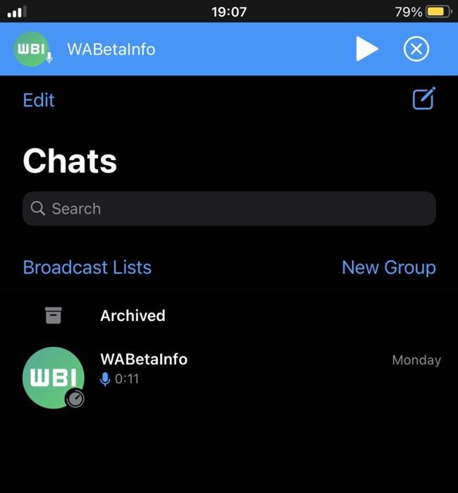 WhatsApp spraakbericht audiospeler